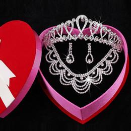 Wholesale Tiara Diamond Wedding Dress - 2015 Fashion New Arrival Free Shipping Earring Neck Tiaras Romantic Hot Three Pieces Crystals Wedding bridal Jewelry Set Dress Accessories