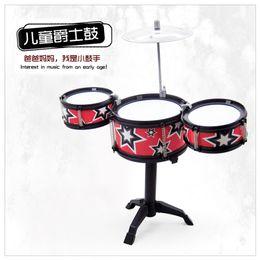 Wholesale Drum Gifts - Christmas Gift Idea Children Toys Red Jazz Interesting Drum Set Boys Girls Play Music Develop Intelligence