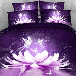 Wholesale 3d Butterfly Comforter Set - Royal Linen Source Magical Purple Lotus Blossom Flower and Butterflies Hd 3d bedding set with 3D Blanket Cover