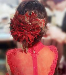 Wholesale Korean Red Dress Accessories - Peony Flower Hair Accessories Tassel Hairpin Korean Wedding Toast Cheongsam Dress Accessories Bridal Headdress Ornaments Red