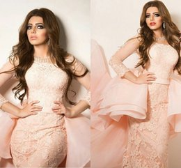 Wholesale Nude Dress Empire Waist - Glamrous 2016 South Arabia Evening Dresses Pink A Line Long Sleeves Party Evening Gowns Lace Ankle Length Empire Waist Formal Dress BA1132