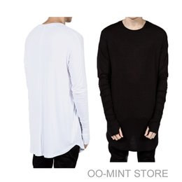Wholesale Thumbs Cuff - Wholesale-Curve Bottom New Thumb Hole Cuffs Long Sleeve Tyga Swag Style Man Hip Hop Top Tee T Shirt Crew T-shirt Men Clothes Clothing
