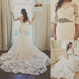 Wholesale Mermaid Pleat Long Cathedral - 2015 Sheer Long Sleeves Lace Belero 2014 Sexy Sweetheart Mermaid Wedding Dress Organza Applique Beaded Bridal Gowns Dresses for Wedding