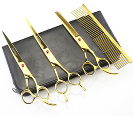 Wholesale Pet Shear Scissors - 7'' Hairdressing Scissors 62HRC JP 440C Stainless Steel Pet Hair Cutting Thinning Shears 4Pcs Set With Bag Plated Gold