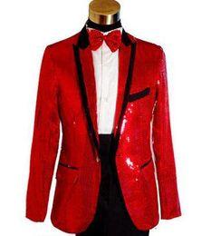 All'ingrosso-Bianco nero rosso paillettes Cantanti moda abito formale matrimonio abiti smoking giacca uomo blazer set giacche uomo + pantaloni M L XL da