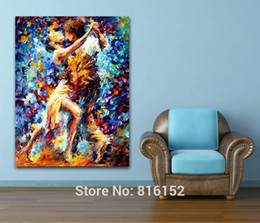 Wholesale Modern Dance Oil Painting - Hot Couple Dance Palette Knife Oil Painting Printed On Canvas Modern Mural Art Hotel Cafe Wall Decor