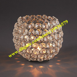 Wholesale Glass Candle Plates Wholesale - Modern globe ball shape crystal bead candle holder flower stand wedding centerpiece for wedding event plan decoration