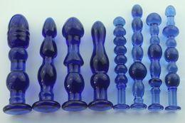 Wholesale Blue Glass Sex Toy - 1pcs Female large transparent blue crystal glass penis glass dick stick anal plug vaginal stick butt stimulator sex toys