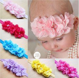 Wholesale Chiffon Headband Flower Crystal - 24 pcs Gril Headwear handmade Head Flower Hair Accessories triple pearl Crystal Chiffon flower combination Elastic Headbands SG857