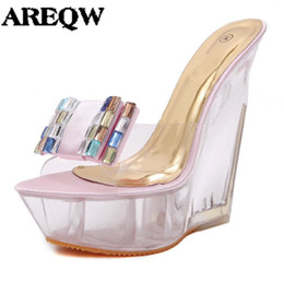 Wholesale Transparent Diamond High Heels - AREQW summer high heels slippers transparent diamonds crystal shoes woman wedges heel high heels sandals women nightclub shoes