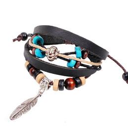 Wholesale Mens Bead Bracelets Wood - Wholesale-Fashion Mens Jewellery pulseira masculina Feather Charm Wood Beads Handmade Leather Bracelets Bangles Men pulseira de couro