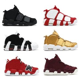 Wholesale More Thread - Newest Air More Uptempo SUPTEMPO Basketball Shoes OLYMPIC RELEASE Bulls Gold Varsity Maroon Black Mens Women Scottie Pippen Shoes