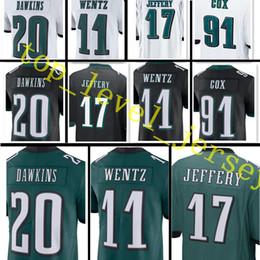 Wholesale Jerseys 91 - Men's Carson Wentz #11 Alshon Jeffery 17 Brian Dawkins jersey stitched 20 Fletcher Cox 91 jerseys Green Black White Limited Game