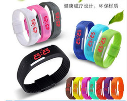 Wholesale Digital Watch Touch Led - hot sale 14 colors Sports Wristwatch led Digital Display touch screen watches Rubber belt silicone bracelets watch D569