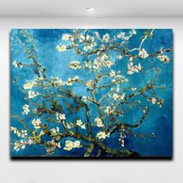 Wholesale Wall Art Oil Tree - Blossoming Almond Tree By Van Gogh Famous Works Oil Painting Printed on Canvas Mural Art Picture Home Living Room Wall Decor