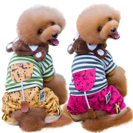 Wholesale Brought Round - Autumn And Winter Poodle Than Bear Pets Keep Warm Cotton-padded Clothes Gogo Clothes Bring Hat Four Padded Leg Pets Clothes & Accessories