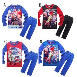 Wholesale New Design Girl Pants - DHL Zootopia 4 Design Boy girl Crazy animal Cit Pajamas new Cotton cartoon Nick Wilde Judy Hopps long Sleeve + Pants 2pcs Suits B001