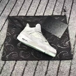 Wholesale Cool Boxes Fishing - Top KAWS Air Retro 4 Cool Grey Glow In The Dark Mens Basketball Shoes Sneakers Limited Edition 4s Grey Suede Sports Shoes With Box Sneakers