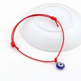 Pulsera encerada online-Caliente ! 100 unids Evil Eye Bracelets - Ajustable color rojo Ceras cuerda Charm Bracelets Lucky Eye Beads Bracelets