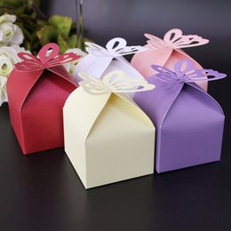 Wholesale Wedding Paper Butterflies - Butterfly Hollow Out Candy Box Wedding Party Baby Shower Gift Boxes For Multi Colors 0 15hb C R
