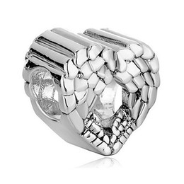 Wholesale Cheap Silver Charm Bracelets - Metal Slider Spacer Large Hole Wholesale Cheap Heart Love European Bead Fit Pandora Chamilia Biagi Charm Bracelet