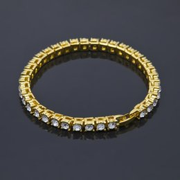 Wholesale Hip Mens Bracelets - Mens Hip Hop Gold Chain Bracelets New Simulated Diamond Rhinestone Hip-Hop Fashion Love Bracelet for Men