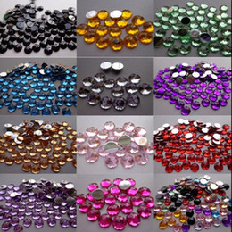 Wholesale Acrylic Bead Faceted - Hot ! 500pcs Chamfer Faceted Acrylic 8mm Flat Back Rhinestone Craft Bead 12 Color