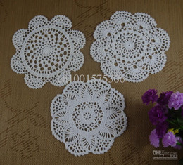 Wholesale Free Doily Patterns - Free Shipping 30PCS Handmade Crochet pattern doily 3 designs cup Pad mat table cloth Vintage Custom Colors 18-20cm ab3h75
