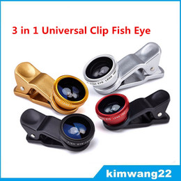 Wholesale Cheap Wholesale Cameras - 3 in 1 Universal Clip Fish Eye Wide Angle Macro Phone Fisheye glass camera Lens For iPhone Samsung Cheap Price+ Best quality
