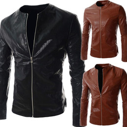 Wholesale Leather Bomber Jacket Brown Xl - New Spring Autumn Winter Mens Leather jacket Fashion Casual PU Biker Jacket Men leather Bomber Jacket Leater Coats