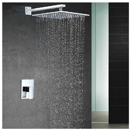 Wholesale Square Tap Set - 2016 NEW Free shipping water conservation abs 8 inch shower head brass chrome wall mounted rainfall shower faucet set Embedded box mixer tap