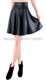 Wholesale Flared Leather Skirt - Wholesale- free shipping new high waist faux leather skater flare skirt mini skirt above knee solid color skirt S M L XL