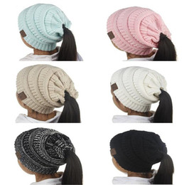 Wholesale Crochet Beanies For Girls - New Fashion Children CC Beanie Caps For 3 to 12 Year Old Winter Outdoor Warm Ponytail Hats Kids Girl Knitted Crochet Skull Beanies