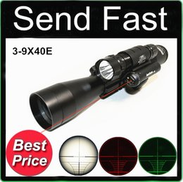 Wholesale Airsoft Guns Laser - 3-9X40E Red and Green with Tri Weaver rail for rifle gun airsoft hunting Scope Red Laser 501B Flashlight Torch mounts