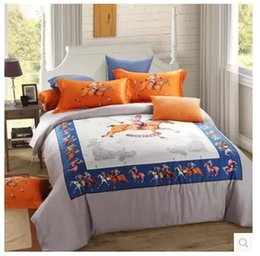 Wholesale Duvet Egyptian - Luxury 100% egyptian cotton bedding set brand sheets horse orange king queen size quilt duvet cover bedspreads bedroom linen 80 bedcover
