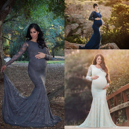 dee46cfec9698 Full Lace Long Sleeve Maternity Evening Formal Dresses 2018 Vintage Custom  Make Mermaid Pregnancy Plus Size Occasion Prom Gowns on sale