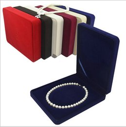 Wholesale Velvet Necklace Gift Boxes - velvet jewelry box pearl necklace box gift box mixed color, sold per bag of 2 pcs