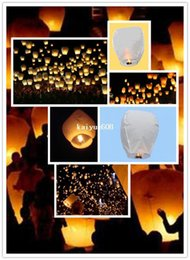 Wholesale Wedding Fly Chinese Paper Lanterns - White Color Wishing Lanterns Chinese Paper Sky Candle Wedding Flying Party Decoration For Christmas Halloween TOO!- 20pcs lot