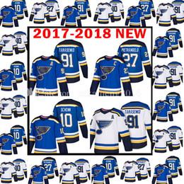 Wholesale New Jersey Hockey - 2018 New St. Louis Blues 91 Vladimir Tarasenko 10 Brayden Schenn season Stadium Jersey Men's 27 Alex Pietrangelo Hockey Jerseys Embroidery