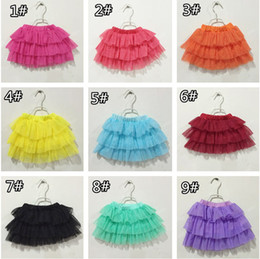 Wholesale Dance Blouses - 2015 girls princess tutu skirt baby kids girl party dancing dress girls 9 colors layered lace dresses kids clothing