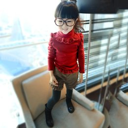 Wholesale Lace Collar Sweater Girls - Wholesale- 1-5T Autumn Winter Fashion Warm Baby Girl Pullover Lace High Collar 100% Cotton Comfortable Kids Sweater Wine Red QD0033