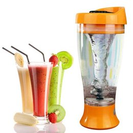 Wholesale Stainless Steel Protein Shakers - Color Electric Protein Shaker Blender Water Bottle Automatic Tornado Bottle 400ml bpa Free Detachable Smart Mixer Cup Retail Box