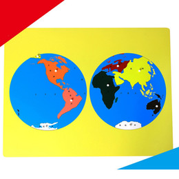 Wholesale Material Maps - Montessori Teaching Geography Material Family Set Puzzle Map of the World board Kindergarten Professional editionTool Wooden baby kids Toy