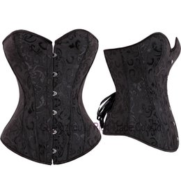 Wholesale Corset Top Patterns - Wholesale-X Black White Size S M L XL XXL-6XL Classical Pattern Overbust Top Corset Brocade Sexy Lingerie