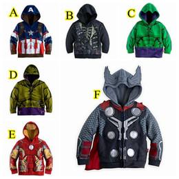 Wholesale Wholesalers Hulk Costumes - The Avengers Costume for Kids Boys Iron Man Thor Hulk Jacket Children Hoodies Sweatshirt Boys Girls Spring Autumn Coat 6 Styles