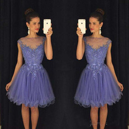 Wholesale Cheap Mini Christmas Lights - 2016 Homecoming Dresses with Cap Sleeves Knee Length Party Dresses Christmas Wedding Ball Gowns Beaded Appliques Cheap Bridesmaid Dresses
