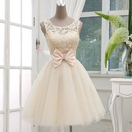 Wholesale Wedding Dress Cream White - Real Mini Wedding Dress Little Ball Gown Sheer Jewel Sleeveless Lace-up Back Bridal Gown Bow Beads Lovely Prom Dresses in Cream