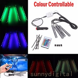 Wholesale Floor Lighting Strips - 4 in1 Wireless Control Car Flwxible Floor Neon Lights Door Lamp With Remote Control Car RGB LED Strip Light 7 Colors Fog Lamp