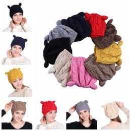 Wholesale devil horn cat ears hat - Women Winter Beanie Devil Horns Cat Ear Crochet Braided Knit Ski Cap Hat 9 Colors LJJO3476