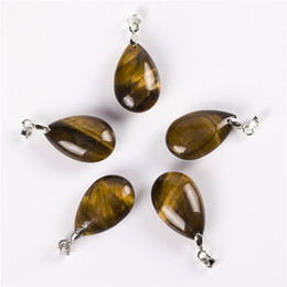 Wholesale Tiger Eye Crystal Necklaces - Tiger eye Water Drop Pendants For Necklace Crystal Quartz Stones Silver Plated Pendulum Chakra Healing Reiki Beads Fashion Jewerlyl